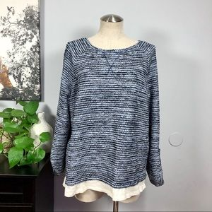 Relativity crew/ scoop neck blue sweater Sz XL